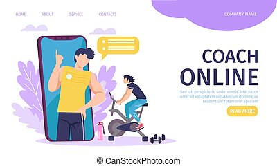 Online coach training landing page template vector illustration. Smartphone with fitness instructor, sport requisites. Online coach program and sportive young man training on exercise bike.
