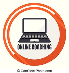 Online coaching flat design orange round vector icon in eps 10