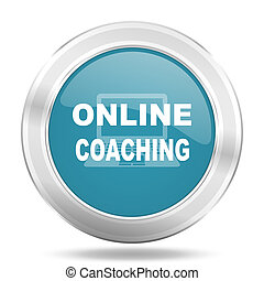 online coaching icon, blue round glossy metallic button, web and mobile app design illustration
