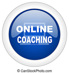 online coaching icon, circle blue glossy internet button, web and mobile app illustration