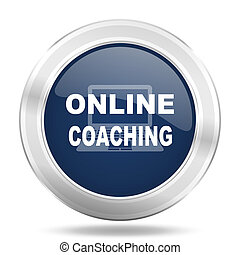 online coaching icon, dark blue round metallic internet button, web and mobile app illustration