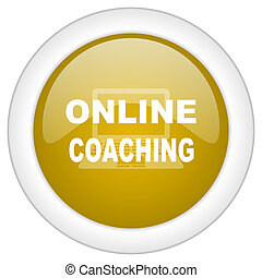 online coaching icon, golden round glossy button, web and mobile app design illustration