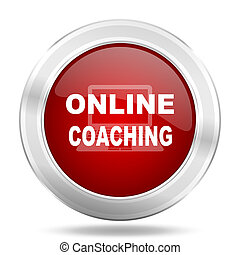 online coaching icon, red round glossy metallic button, web and mobile app design illustration