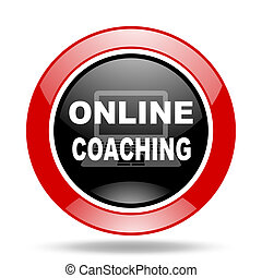 online coaching red and black web glossy round icon