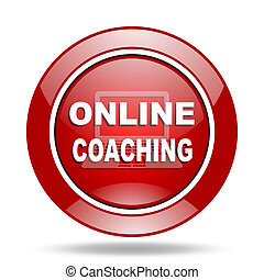 online coaching red web glossy round icon