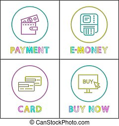 Online Commerce and Shopping Round Linear Icons