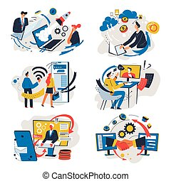 Online communication wit partners, business and interaction vector