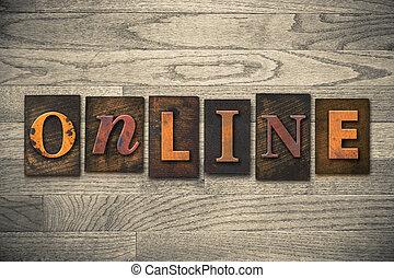 online, conceito, madeira, letterpress, tipo