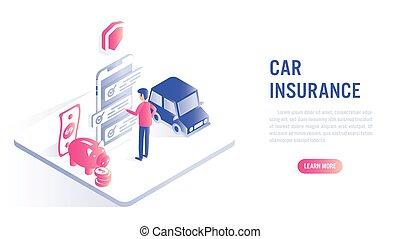 online , concept., ασφάλεια , αυτοκίνητο