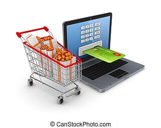 online , concept., ψώνια