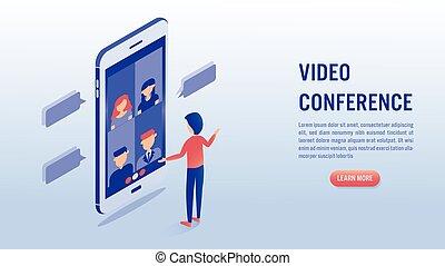 online, concept., spotkanie, konferencja, video
