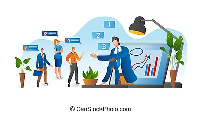 Online conference, business video meeting, task vector illustration. Businessman on computer screen taking with colleague. Videoconferencing.