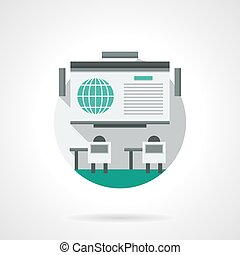 Online conference detailed color vector icon