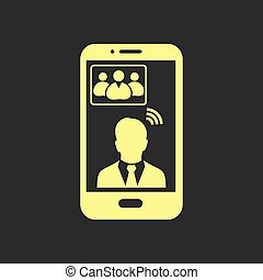 Online conference icon. - Online conference smart phone icon...
