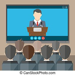Online conference. Internet meeting, video call - Video...