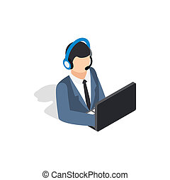 Online consultant icon, isometric 3d style