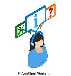 Online consultation icon, isometric style