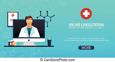 Online Consultation. Medical background. Health care. Vector medicine illustration.