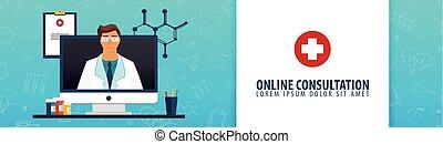 Online consultation. Medical banner. Health care. Vector medicine illustration.