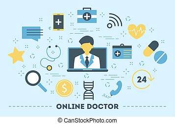 Online consultation with doctor. Remote medical treatment