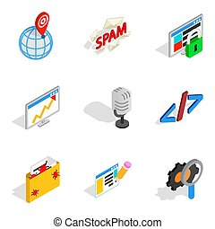 Online contemporary icons set, isometric style - Online...