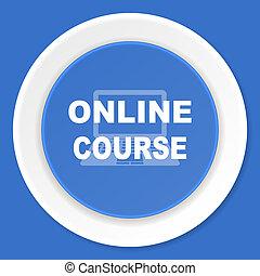 online course blue flat design modern web icon
