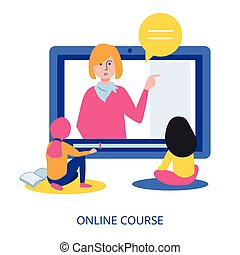 Online Course concept, flat design vector illustration