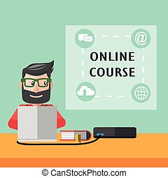 Online course flat color cartoon