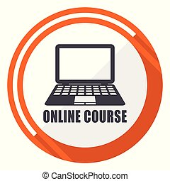Online course flat design orange round vector icon in eps 10