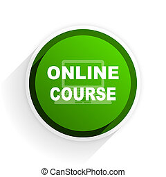 online course flat icon with shadow on white background, green modern design web element