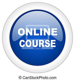 online course icon, circle blue glossy internet button, web and mobile app illustration