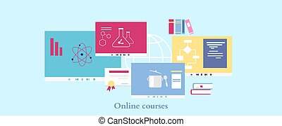 Online Course Icon Flat Design Style - Online course icon...