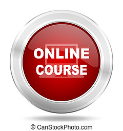 online course icon, red round glossy metallic button, web and mobile app design illustration