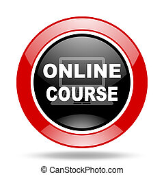 online course red and black web glossy round icon