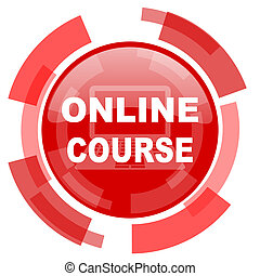 online course red glossy web icon