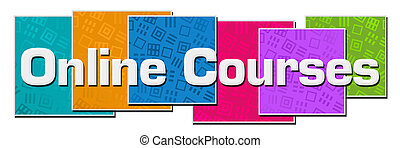 Online courses text written over colorful background.