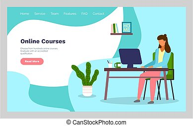 Online courses concept with character. Flat education, training, online tutorial, e-learning concept