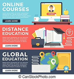 Certificate template for information technology illustration vector online courses distance education global education flat illustration concepts set flat design graphic yadclub Gallery