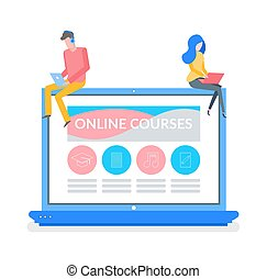 Online Courses Man and Woman Reading Material - Online...