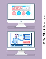 Online Courses Screens with Tutors on Videos Set - Online...
