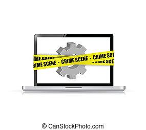 online crime scene concept illustration design