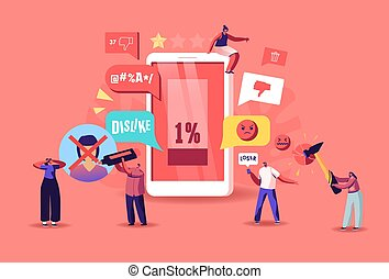 Online Criticism, Social Network Harassment Concept. Characters Bully in Smartphone Harassing, Threatening and Intimidating Upset Victim. Cyberbullying, Flooding. Cartoon People Vector Illustration