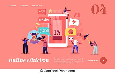 Online Criticism, Social Network Harassment Landing Page Template. Characters Bully in Smartphone Harassing and Intimidating Upset Victim. Cyberbullying, Flooding. Cartoon People Vector Illustration