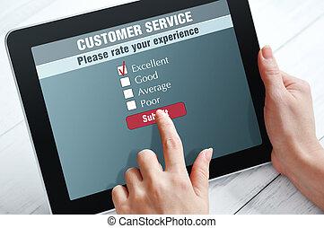 Online customer service satisfaction survey on a digital...