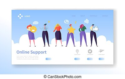 Online Customer Service Technical Support Landing Page. Operator Character Chat to Help User Solution. Hotline