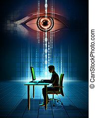 online, data, aflytning