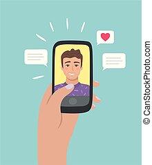 Online dating app concept.