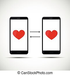 online dating app concept hearts