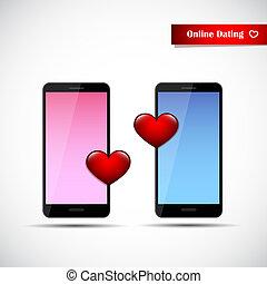 online dating app concept pink and blue smartphones