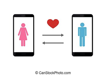 online dating app concept with man and woman pictogram